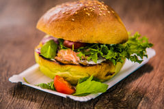Sandwich hamburger with and mix of vegetables Stock Photo