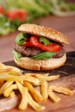 Sandwich with hamburger and tomato Stock Images