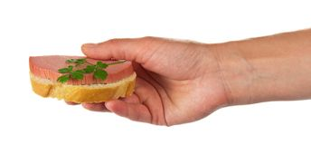 Sandwich in the hand Royalty Free Stock Photography