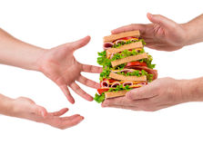 Sandwich in hands Royalty Free Stock Image