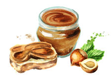 Sandwich with hazelnut paste. Watercolor  illustration Royalty Free Stock Images