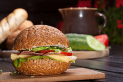 Sandwich. Healthy sandwich with cucumber, lettuce and tomato Royalty Free Stock Images