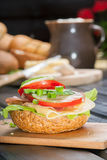 Sandwich. Healthy sandwich with cucumber, lettuce and tomato Stock Images