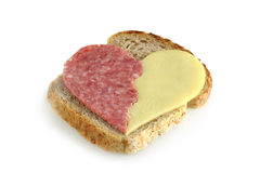 Sandwich with heart stock photos