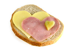 Sandwich with hearts Royalty Free Stock Images