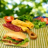 Sandwich, herbs, sausage, tomato and cheese Royalty Free Stock Image