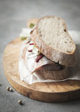 Sandwich with herring, beet and onion. Royalty Free Stock Photos