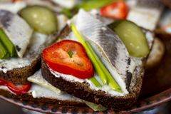 Sandwich with herring, cucumber, onion and pepper. Sandwich with herring, marinated cucumber, onion and pepper Stock Image