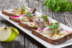 Sandwich with herring fillets, onion, pickled cucumber and dill Stock Photos