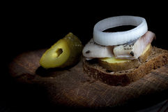 Sandwich with herring Stock Photo