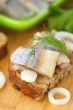 Sandwich with herring and onion Royalty Free Stock Photo