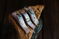 Sandwich with herring and vodka. Sandwich with herring, rye bread on a brown table Royalty Free Stock Image