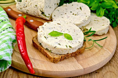 Sandwich with homemade cheese and pepper on the board Stock Photography