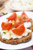 Sandwich with homemade cottage cheese, pepper, cherry tomatoes Royalty Free Stock Images