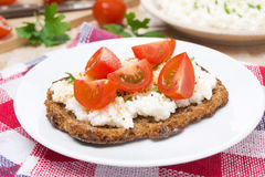Sandwich with homemade cottage cheese, pepper, herbs and cherry Stock Photos