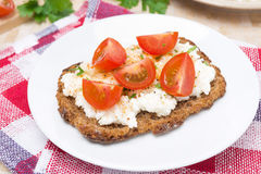 Sandwich with homemade cottage cheese, pepper, herbs and cherry Royalty Free Stock Image