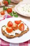Sandwich with homemade cottage cheese, pepper, herbs and cherry Stock Photo