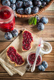 Sandwich with homemade plum jam Royalty Free Stock Images