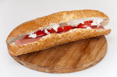 Sandwich with hot dog tomato white cheese cereals Stock Photo