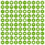 100 sandwich icons hexagon green. 100 sandwich icons set in green hexagon isolated vector illustration Royalty Free Stock Photo