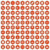 100 sandwich icons hexagon orange. 100 sandwich icons set in orange hexagon isolated vector illustration Stock Illustration