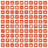 100 sandwich icons set grunge orange. 100 sandwich icons set in grunge style orange color isolated on white background vector illustration Stock Illustration