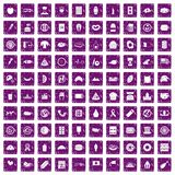 100 sandwich icons set grunge purple. 100 sandwich icons set in grunge style purple color isolated on white background vector illustration Royalty Free Stock Image