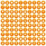 100 sandwich icons set orange. 100 sandwich icons set in orange circle isolated vector illustration Stock Illustration