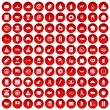 100 sandwich icons set red. 100 sandwich icons set in red circle isolated on white vectr illustration Stock Photos