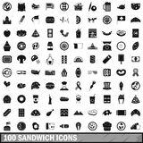 100 sandwich icons set, simple style. 100 sandwich icons set in simple style for any design vector illustration Royalty Free Stock Photography