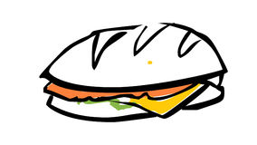 SANDWICH illustration. An illustration / drawing of a sandwich, isolated on a white background Royalty Free Stock Photos