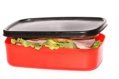Sandwich im Nahrungsmittelkasten Stockbild