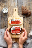 Sandwich with image of american flag Royalty Free Stock Photography