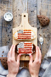 Sandwich with image of american flag Royalty Free Stock Photo