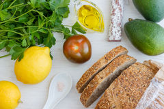 Sandwich Ingredients. Homemade delicious toasted sandwich for breakfast Stock Photography
