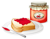A sandwich inside the plate with a cherry jam. Illustration of a sandwich inside the plate with a cherry jam on a white background Royalty Free Stock Photos