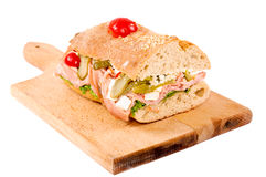Sandwich isolated on board Stock Images