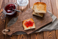 Sandwich with jam beside the toast Royalty Free Stock Photos