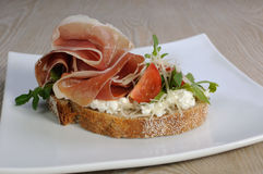 Sandwich of jamon with ricotta, arugula and cheese. Sandwich of jamon with ricotta, arugula, cheese and a slice of cherry stock photography