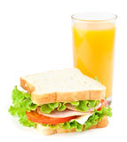 Sandwich and juice Stock Image