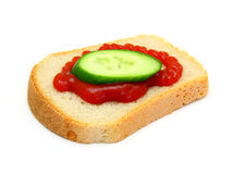 Sandwich with Ketchup and a cucumber Royalty Free Stock Images