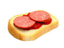 Sandwich with Ketchup sausage Stock Image