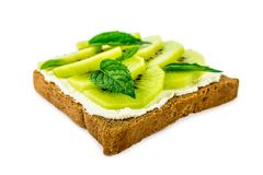 Sandwich with kiwi on white isolated background Royalty Free Stock Images