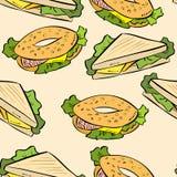Sandwich kritzelt nettes nahtloses Muster Weihnachtsmann in einer Schutzkappe, in den Kopfh?rern, mit einem Weihnachtslutscher he vektor abbildung
