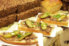 Sandwich with lard and cucumber stock photo