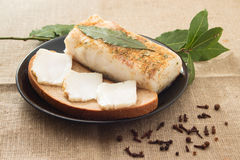 Sandwich with lard and laurel leaf Royalty Free Stock Image