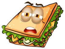 Sandwich with lazy face Stock Photography