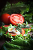 Sandwich. With leaves of green salad tomato and quail eggs on a wooden background Royalty Free Stock Photo