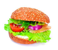 Sandwich with Lettuce, Tomato, Goat Cheese and Boiled Chicken Royalty Free Stock Image