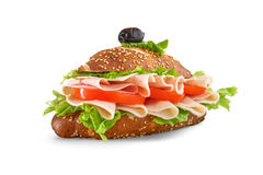 Sandwich with lettuce tomato ham and cheese - decorated food Royalty Free Stock Photo